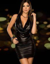 Mini vestido sexy negro con cuello volcado VES00181