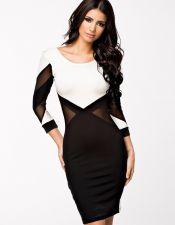 Vestido negro y blanco con transparencias VES00184