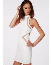 Vestido blanco con transparencias VES00187