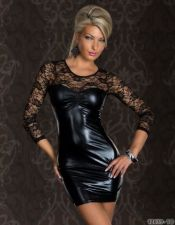 Vestido sexy negro efecto vinilo y encaje VES00188