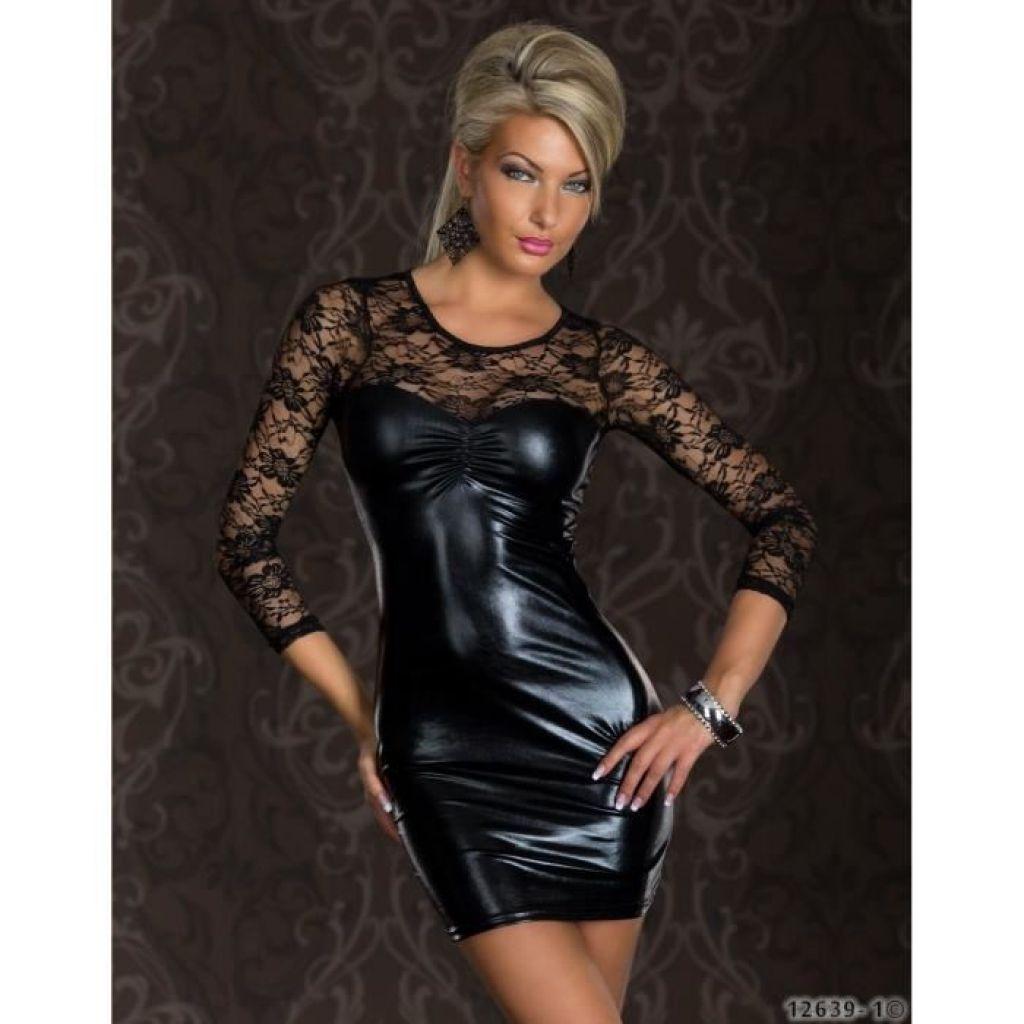 Vestido sexy negro efecto vinilo y encaje