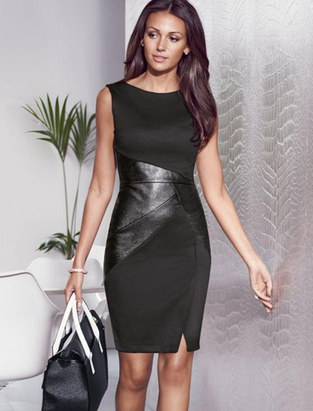 Vestido negro entubado con detalles de piel