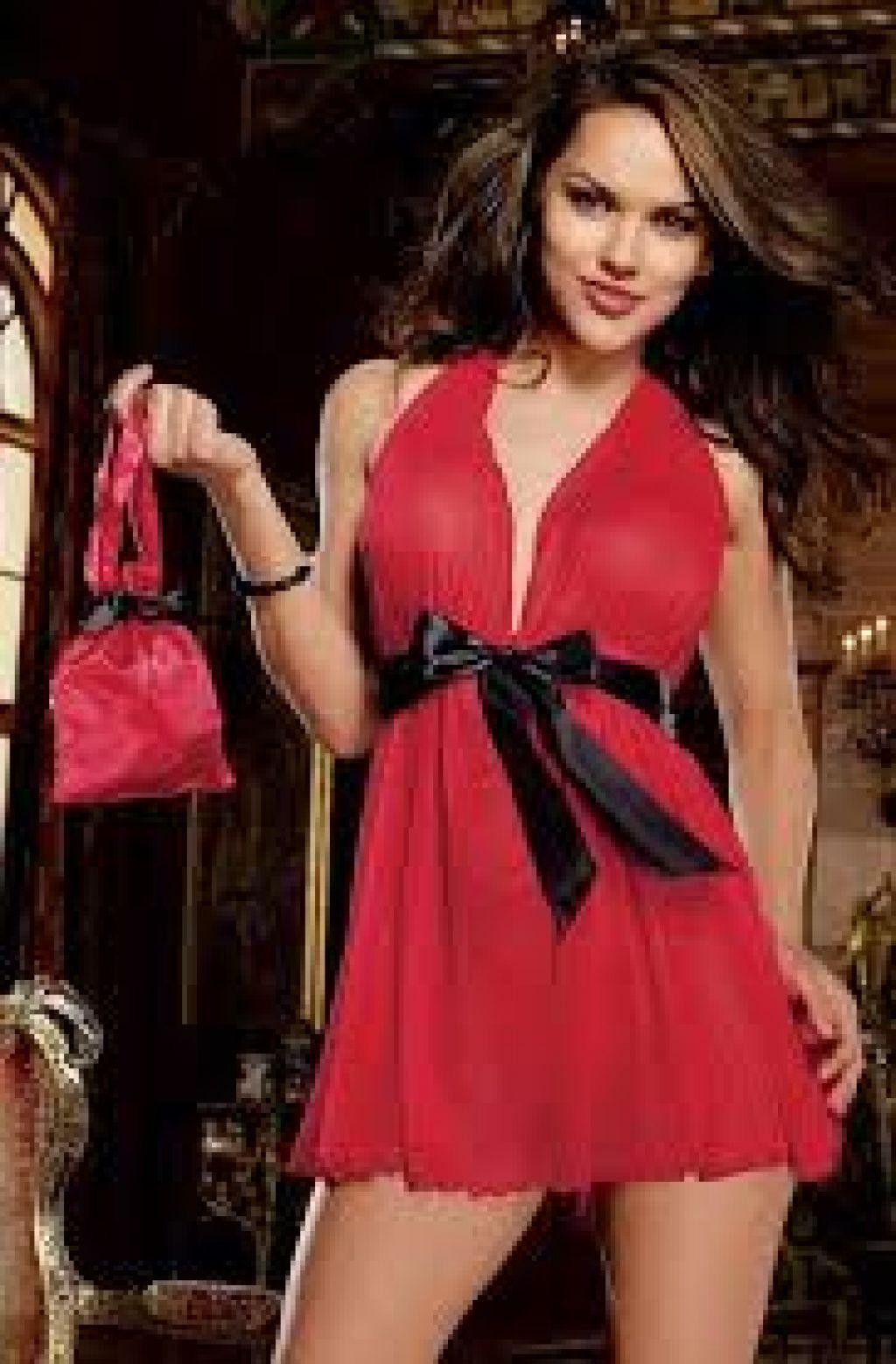 Precioso babydoll de ropa interior femenina con lazo Plus Size