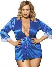 Elegante Bata Sexy de punto efecto seda en azul eléctrico con encaje blanco BAT00042