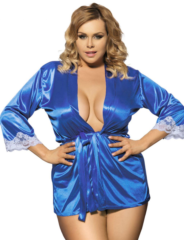 Elegante Bata Sexy de punto efecto seda en azul eléctrico con encaje blanco