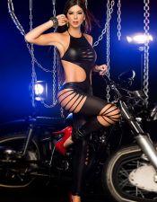 Bodystocking negro con roturas BDS00157