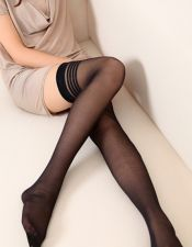 Medias sexys lisas con dibujo de rayas horizontales MED00178