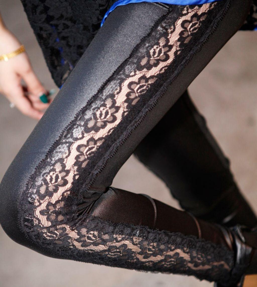 Leggins sexys de algodón con encaje lateral