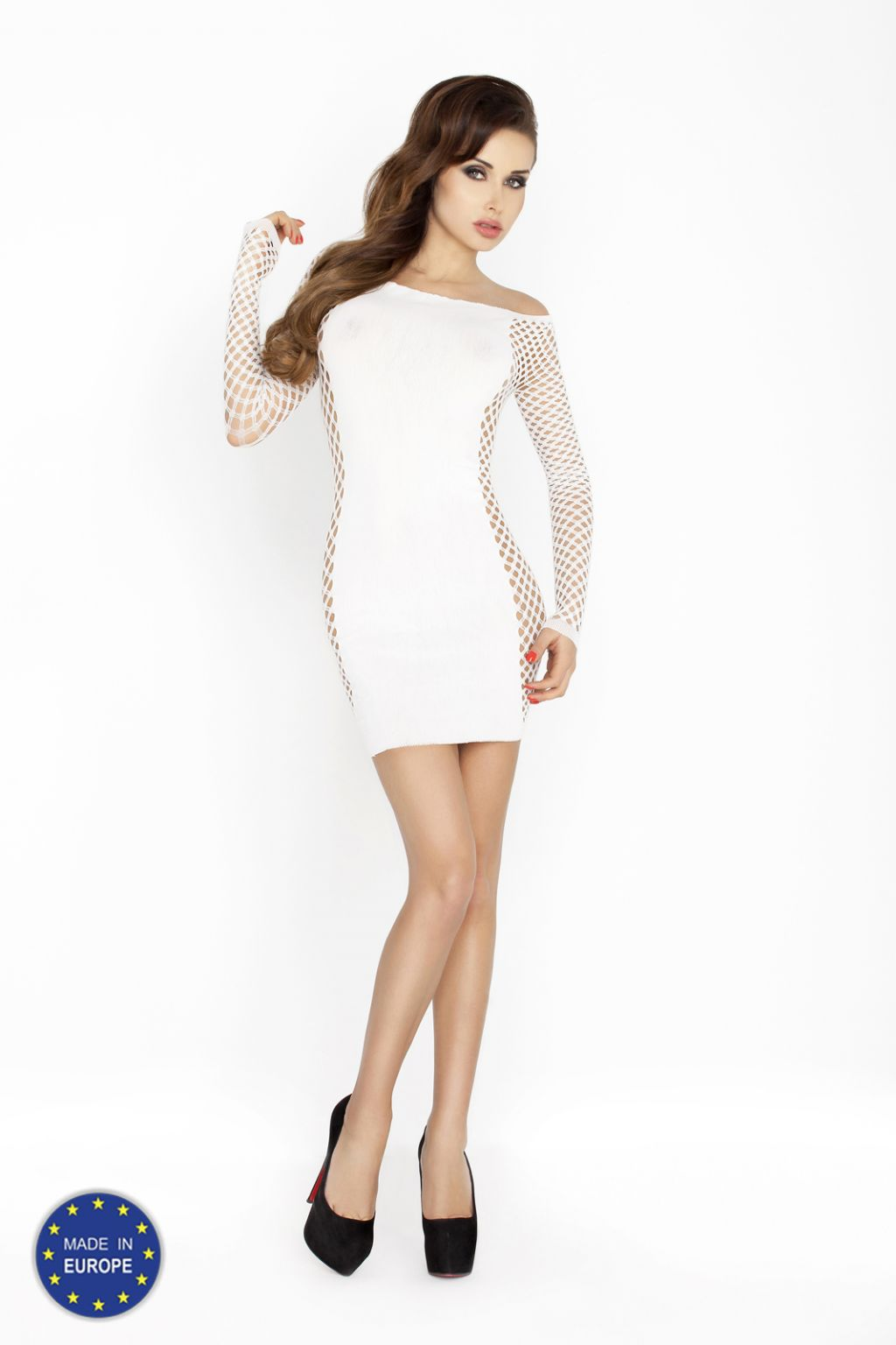 Mini vestido erótico con crochet y mangas largas