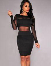 Elegante vestido de tubo corto negro con mangas transparentes VES00203