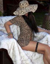 Picardías de leopardo con detalle de puntilla negra BAB00074
