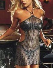 Vestido sexy de tejido elástico con fibra con agujeritos y argolla VES00020