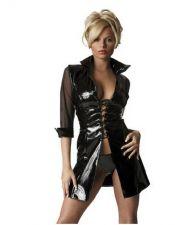 Vestido sexy de vinilo con mangas 3-4 transparentes VES00022