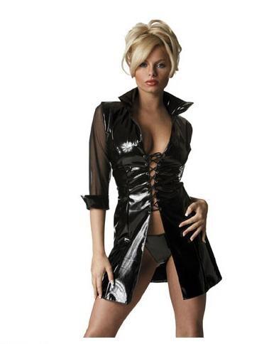 Vestido sexy de vinilo con mangas 3-4 transparentes
