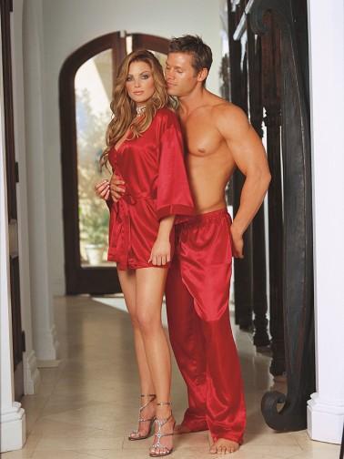 Bata sexy de seda roja