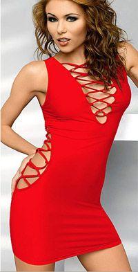 Vestido sexy de tejido elastico con lazos cruzados en el escote y los laterales