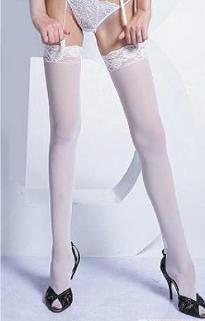 Medias sexys de red blancas con liga