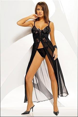 Camisón sexy de encaje y tul transparente