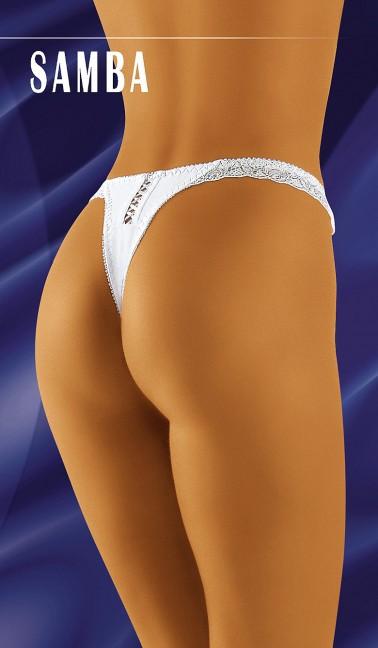 Braga sexy Deluxe tipo tanga g-string de tejido elástico con encaje y apertura trasera con lazo cruz