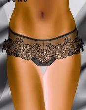 Braga sexy Deluxe tipo culotte de microtul con bordados de flores circulares y lazos a ambos lateral BDL00046