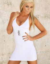 Vestido sexy de tejido elástico con fibra con tres hebillas plateadas VES00033