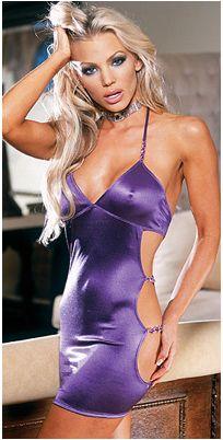 Vestido sexy de diseño sexy y provocativo en color morado con detalle de tiras en las caderas