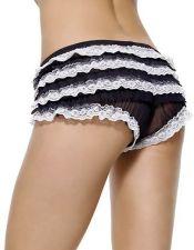 Culotte negro con volantes de puntilla blanca CUL00006