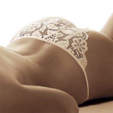 Braga sexy de encaje con fino elástico en la cintura