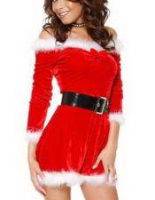 Vestido de Navidad de tela aterciopelada brillosa, de escote barco y mangas, con pajarita y plumas DIS00024