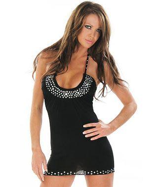 Vestido sexy de tejido elástico con fibra con escote redondo y strass en escote tirantes y final de