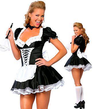 Disfraz sexy de asistenta sexy tipo vestido con delantal y lazo en la parte trasera