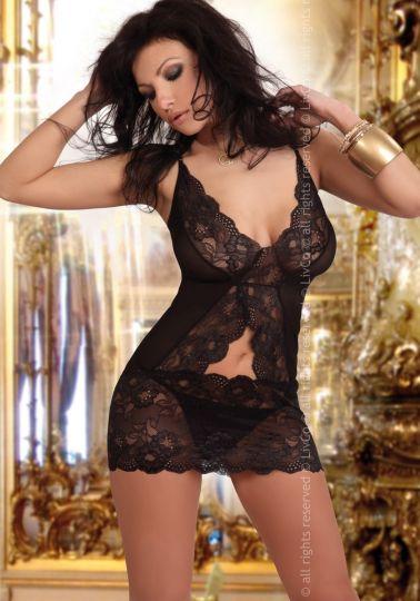 Babydoll negro de encaje con original y atractivo diseño sexy