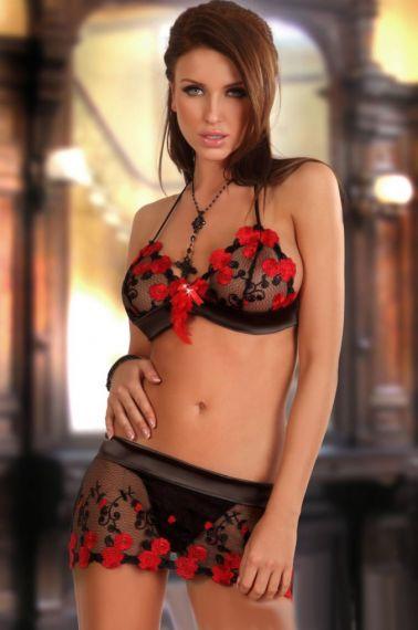 Conjunto sexy de sujetador y minifalda de tul bordado con flores rojas con piedra y plumas rojas
