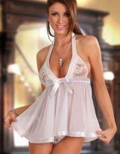 Babydoll corto de ropa interior femenina atado al cuello con vuelo BAB00166