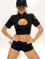Disfraz sexy de Policia sexy con top con escudo y short de tejido elástico y gorra de policia a jueg DIS00031