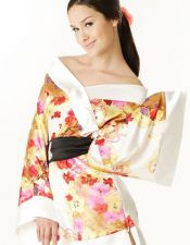 Bata sexy tipo Kimono satinada estilo Geisha con estampados multicolores BAT00015