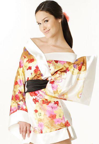 Bata sexy tipo Kimono satinada estilo Geisha con estampados multicolores