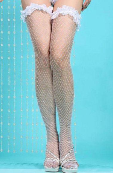 Medias sexys de red con liga de puntilla fruncida