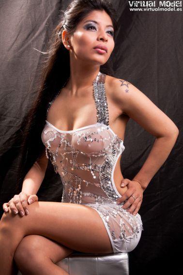 Sensual vestido sexy de microtul con lentejuelas bordadas y tirantes para atar al cuello