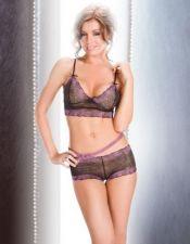 Conjunto sexy de top de microtul y culotte con delicados bordados en color lila y tirantes regulable CON00143