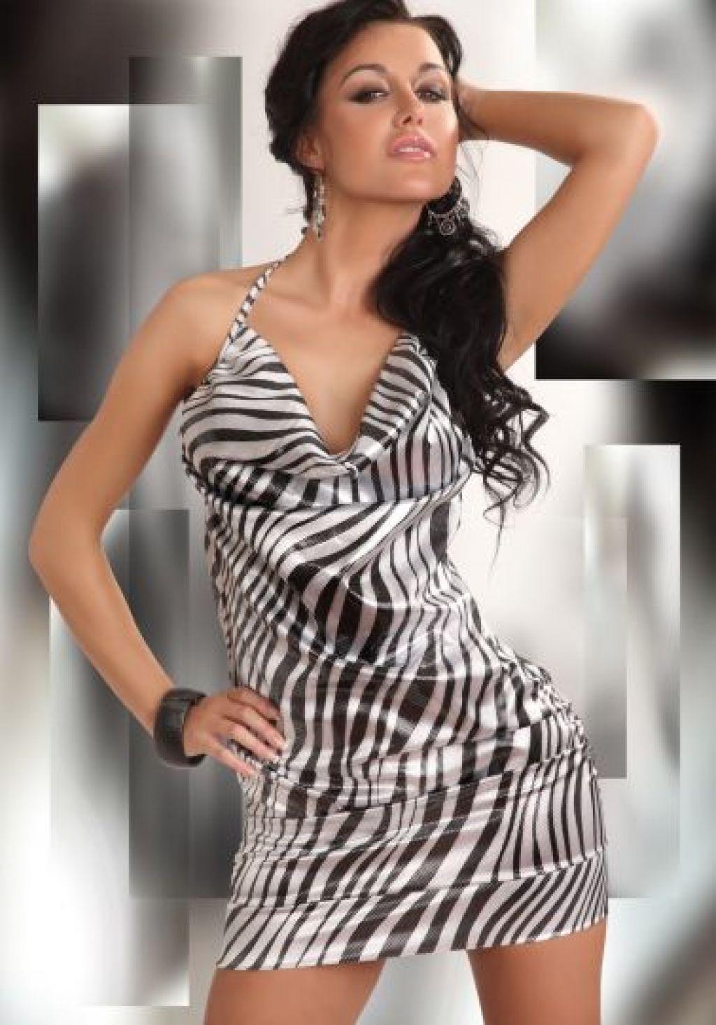 Vestido sexy con estampado de cebra y cuello volcado
