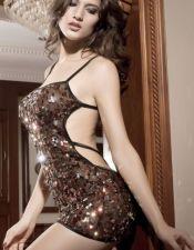 Vestido sexy de tejido elástico con tirantes negros y lentejuelas multicolor y multiformas bordadas VES00070