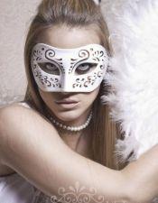 Máscara blanca de fantasía con dibujos troquelados ACC00008