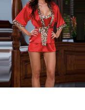 Sofisticada bata sexy corta de color rojo satinado con solapa y ribete de leopardo BAT00018