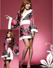 Bata de Geisha de satén con estampados BAT00019