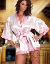 Elegante bata sexy de saten blanca con solapa y cinturon rosa  BAT00020
