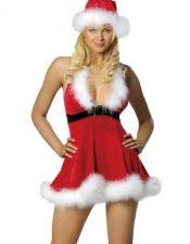Vestido de Navidad de tejido aterciopelado con plumas en el escote y la falda y gorro a juego DIS00033