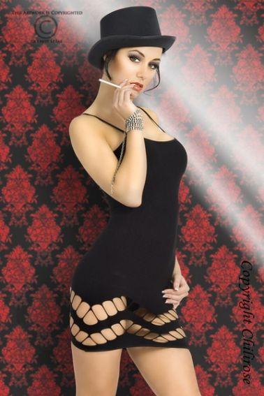 Vestido sexy de tejido elastizado con tirantes y agujeros en la falda