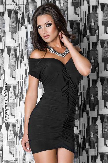 Vestido sexy drapeado en color negro